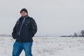 Traveler walking in a winter steppe