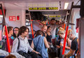 Travelers in overcrowded train heading to Hungary from Austria Royalty Free Stock Photo
