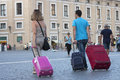 Travelers with suitcases Royalty Free Stock Photo