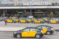 Travelers and taxis waiting in front of the railway station barcelona sants in barcelona spain may several on may Royalty Free Stock Photography