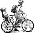 Travelers vector drawing of a parent traveling with a child on a bicycle Stock Photography