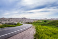 Traveling the badlands south dakota beautiful springtime travels in of with spring green grass Stock Photo
