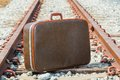 Traveling bag and railway Stock Photography