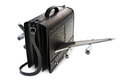 Traveling business black leather suitcase with wings Stock Photography