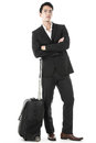 The traveling businessman waiting and lost in thought Royalty Free Stock Images