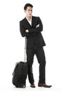 The traveling businessman waiting and lost in thought Stock Images
