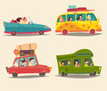 Traveling by car, cabriolet, bus and Trailer with happy people. Summer vacation, tourism