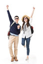 Traveling couple feel exciting asian young and dancing full length portrait isolated on white background Stock Images