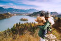 Traveling family looking on Bled Lake, Slovenia, Europe Royalty Free Stock Photo