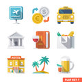 Traveling flat icons travel and transport icon set Stock Photo