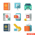 Traveling flat icons travel and transport icon set Royalty Free Stock Photo