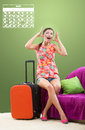Traveling during peak season girl planning her travel all dates are fully booked Stock Images