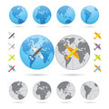Traveling series airplanes globes set Stock Image