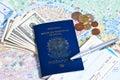 Traveling stuff brazilian passport money and boarding pass Royalty Free Stock Photos