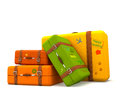 Traveling suitcases over a white background Royalty Free Stock Images