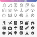 Traveling and transport line icon set Royalty Free Stock Photos