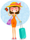 Traveling woman to tropical destination Royalty Free Stock Photos