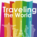 Traveling the world over colorful background vector illustration Stock Image