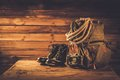 Traveller concept in a wooden interior Royalty Free Stock Image