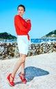 Traveller woman in Donostia; San Sebastian, Span looking aside Royalty Free Stock Photo