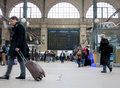 Travellers rushing gare du nord paris railway station Stock Images