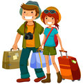 Travelling couple man and woman traveling together Stock Images