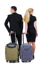 Travelling full length of two business people prepare to go in a business travel isolated on white background Royalty Free Stock Images