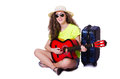 Travelling guitar player isolated Royalty Free Stock Photo