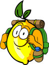 Travelling lemon cartoon style illustrated vector format is available Royalty Free Stock Images