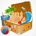 Travelling in sea beach vector illustration of sand castle on luggage Stock Image