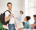 Travelling student with backpack and book travel vacation education concept Royalty Free Stock Photography