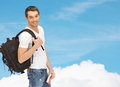 Travelling student with backpack and book travel vacation education concept Stock Photos