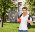 Travelling student with backpack and book travel vacation education concept Royalty Free Stock Photo