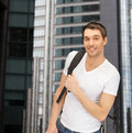 Travelling student with backpack outdoor tourism education and vacation concept Stock Images