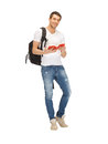 Travelling student bright picture of with backpack and book Stock Photos