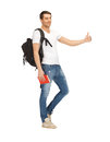 Travelling student bright picture of with backpack and book Stock Photography