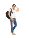 Travelling student bright picture of with backpack and book Stock Image