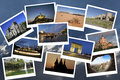 Travels collage in blue background Royalty Free Stock Images