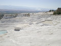 Travertine terrace formations on a sunny day in pamukkale turkey Royalty Free Stock Images