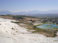 Travertine terrace formations on a sunny day in pamukkale turkey Stock Photo