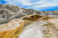 Travertine terrace at mammoth hot springs with with deposits of calcium carbonate yellowstone national park Stock Image