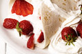 Trawberries strawberry with cream on piadina Stock Images