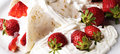 Trawberries strawberry with cream on piadina Stock Photo