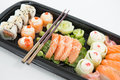 Tray of assorted sushi Royalty Free Stock Photo