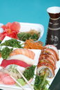 Tray with assorted sushi apetaizer Royalty Free Stock Photo