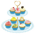 A tray with cupcakes Royalty Free Stock Photo