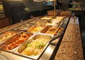 Tray with food inside the self service Chinese restaurant Royalty Free Stock Photography