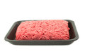 A tray of fresh lean ground beef from supermarket on white background Royalty Free Stock Photos