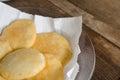 Tray of freshly fried arepas. Royalty Free Stock Photo