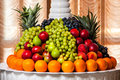 Tray with fruit large different beautifully laid out Stock Photos